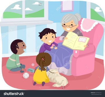 stock-vector-illustration-of-kids-listening-to-their-grandmother-tell-a-story-237742315